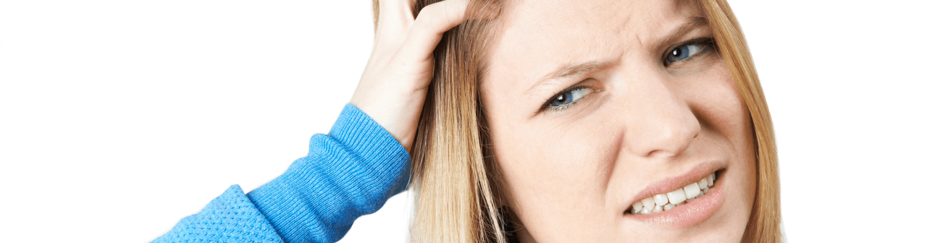 woman itching head lice